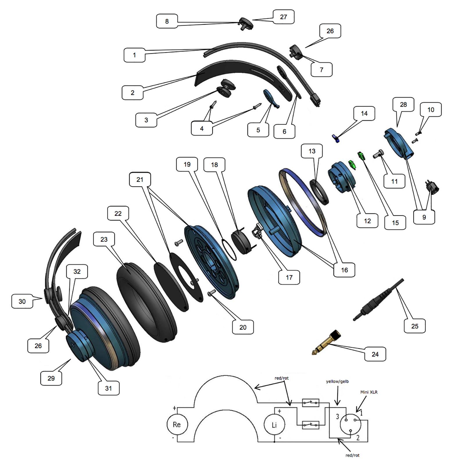 爱科技 akg k271mkii 头戴式耳机   结构爆炸视图